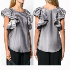 See By Chloe Ruffle-sleeve Striped Blouse NWT
